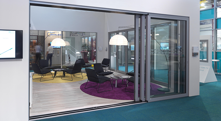 Exhibition stand showing C160S Aluminium Lift/Slide Door from Sapa